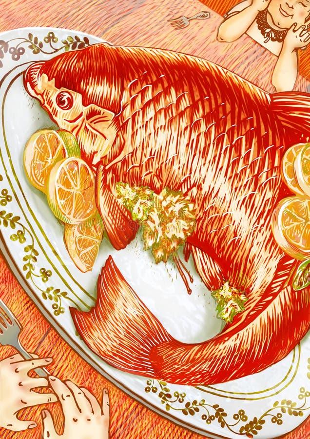 Pomarańcze rybi gość restauracji dla dwa ilustraci ilustracja wektor