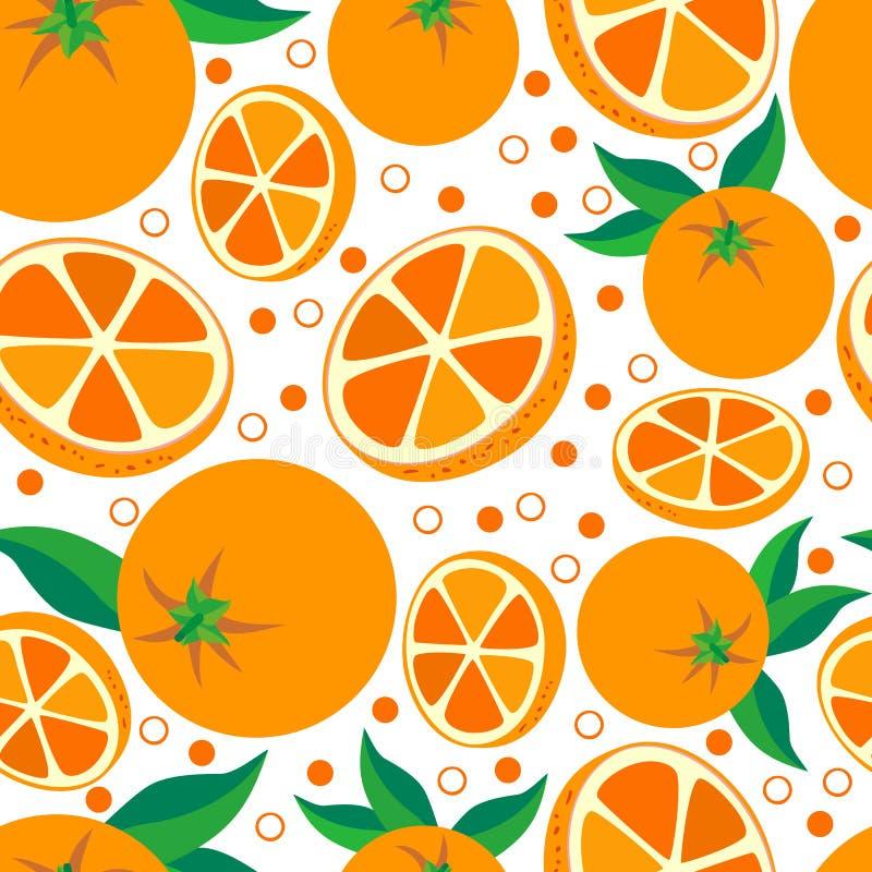 Pomarańcze Wektorowy bezszwowy tło z pomarańczami ilustracja wektor