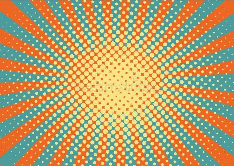 Pomarańcze, yelow, błękitny kropka wystrzału sztuki tło i promienie, i retro wektorowy ilustracyjny rysunek dla projekta ilustracja wektor