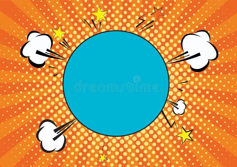 Pomarańcze, yelow promienie i kropka wystrzału sztuki tło, chmury i mowa okręgu bąbel dla teksta retro wektorowa ilustracja dla zdjęcia stock