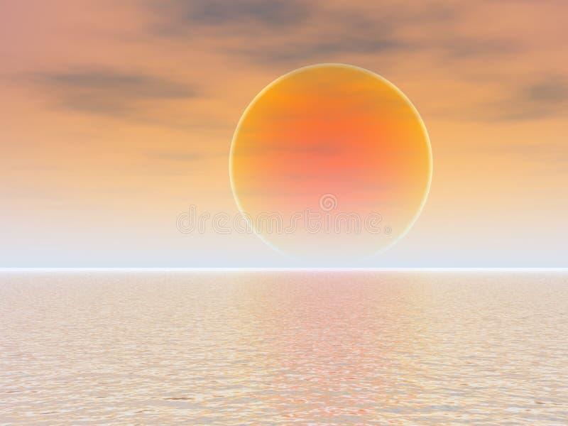 pomarańcze z morza na zachód słońca ilustracja wektor