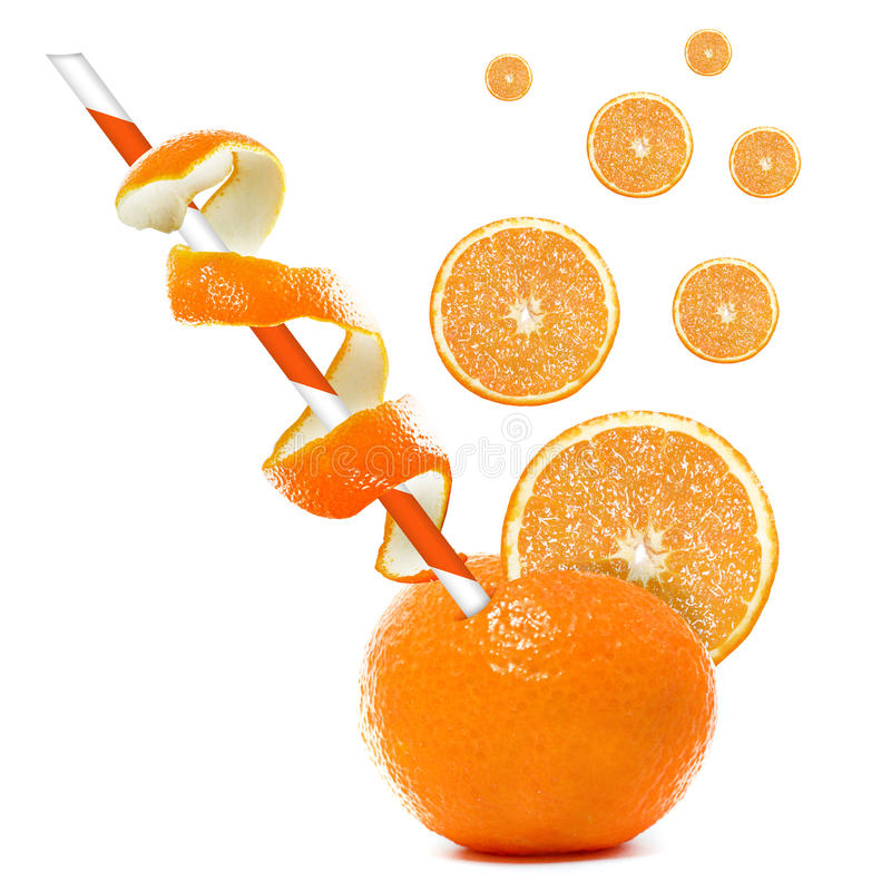 Pomarańcze z słomą. obraz stock