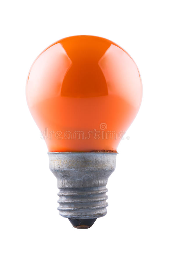 Pomarańczowa żarówka, odizolowywająca obraz royalty free