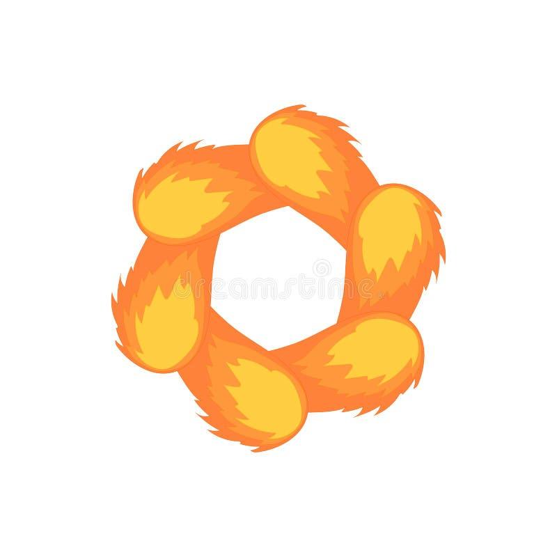 Pomarańczowa abstrakcjonistyczna okrąg ikona, kreskówka styl ilustracji