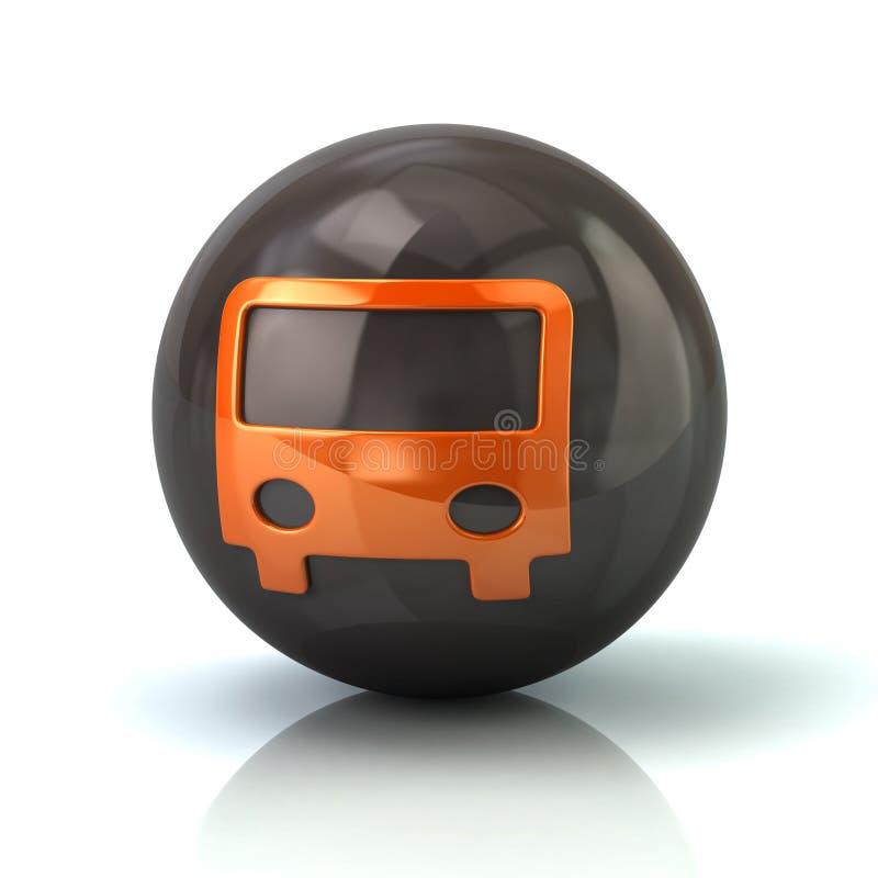 Pomarańczowa autobusowa ikona na czarnej glansowanej sferze ilustracja wektor