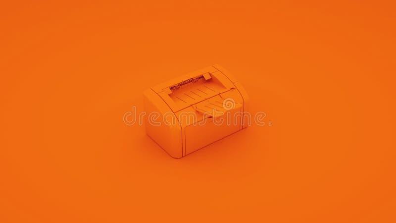 Pomarańczowa Biurowa drukarka ilustracja 3 d ilustracja wektor