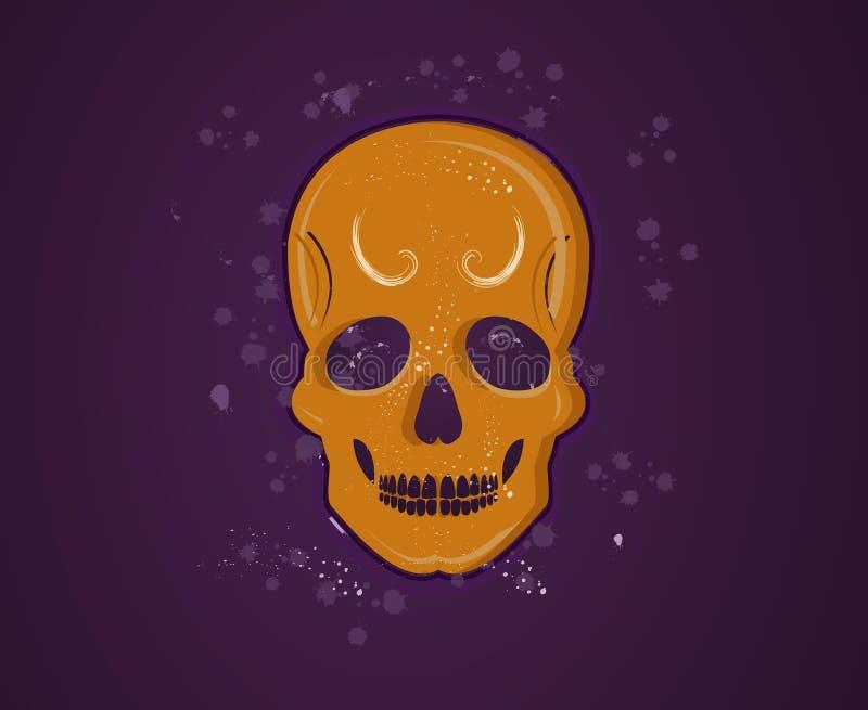 pomarańczowa czaszka royalty ilustracja