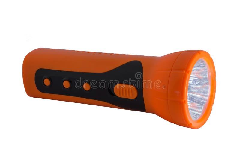 Pomarańczowa Elektryczna Kieszeniowa latarka na białym blackground fotografia stock