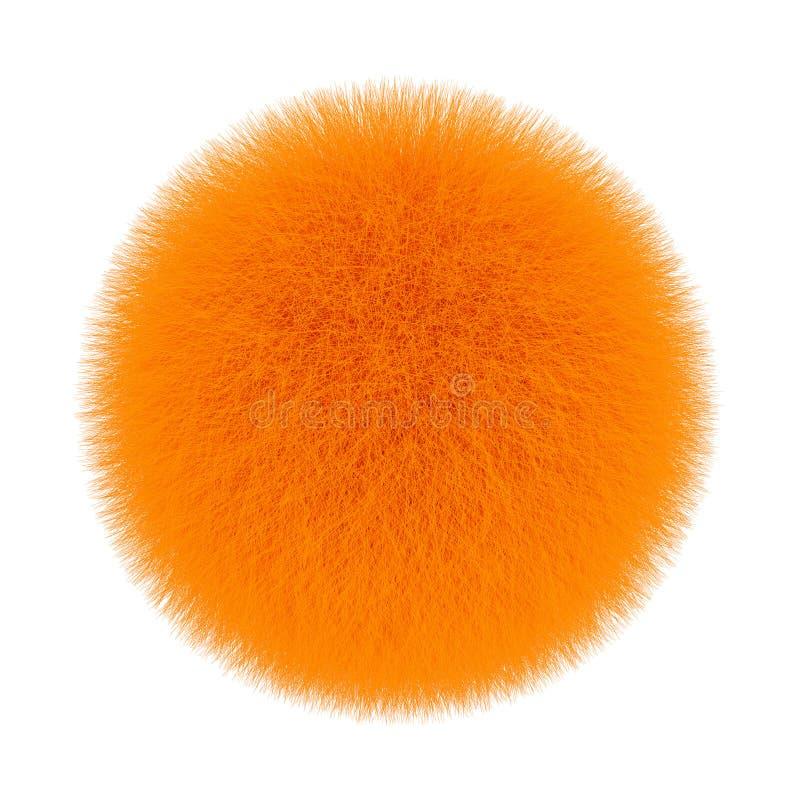 Pomarańczowa Futerkowa Włosiana piłka świadczenia 3 d obrazy stock