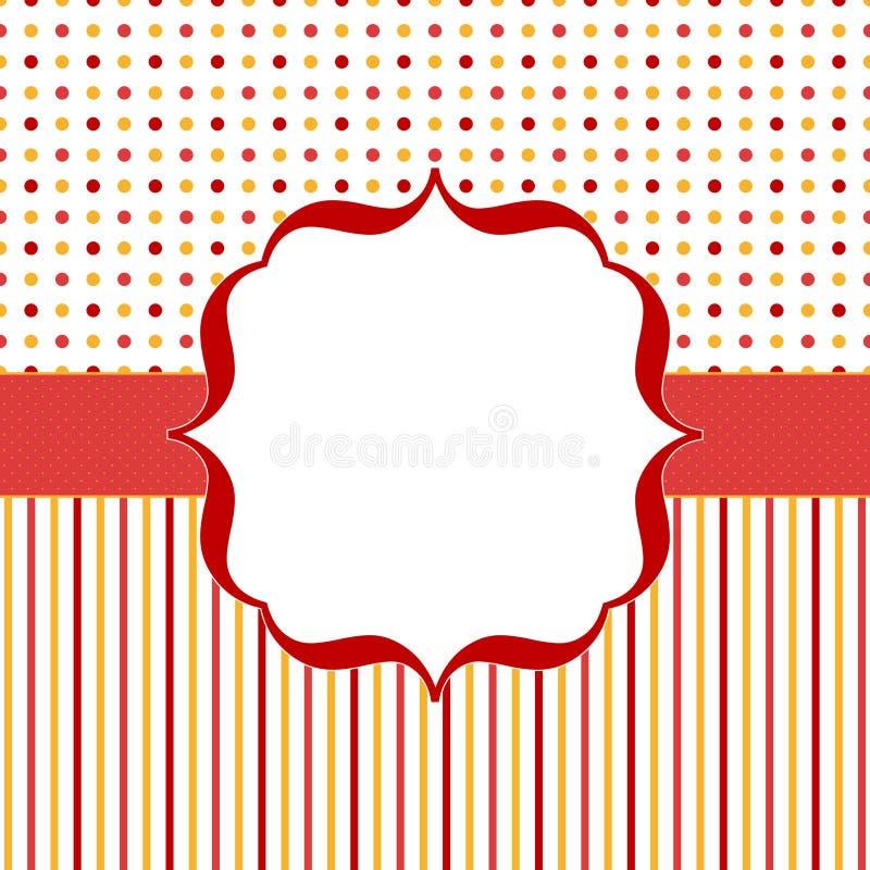 Pomarańczowa i czerwona zaproszenie karta z ilustracja wektor