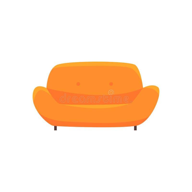 Pomarańczowa kanapa, leżanka, żywy pokój lub biura wnętrze, meble dla relaks kreskówki wektoru ilustraci royalty ilustracja