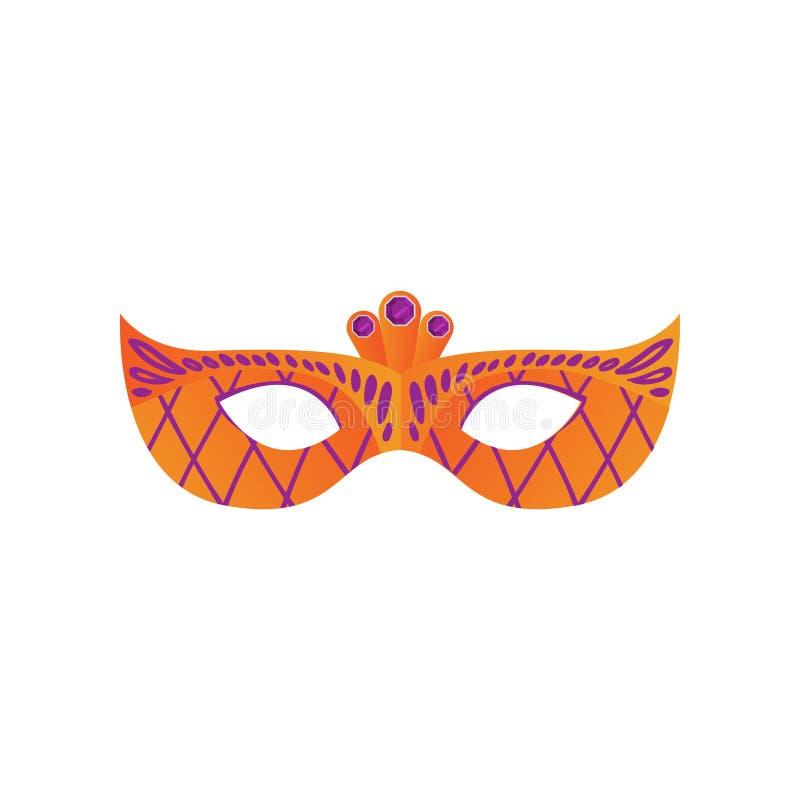 Pomarańczowa karnawałowa świąteczna maska z fiołkowym ornamentem i klejnotami ilustracji