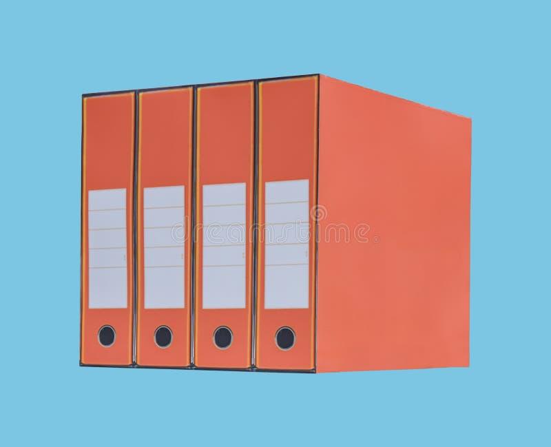 Pomarańczowa księgowości administracji falcówka i papierkowa robota na błękicie zdjęcie stock