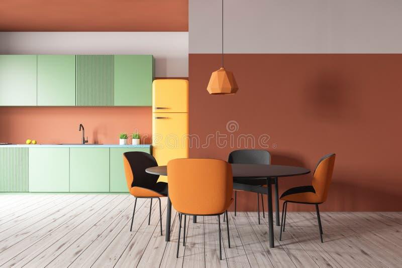 Pomarańczowa kuchnia z zieleń stołem i kontuarami ilustracji