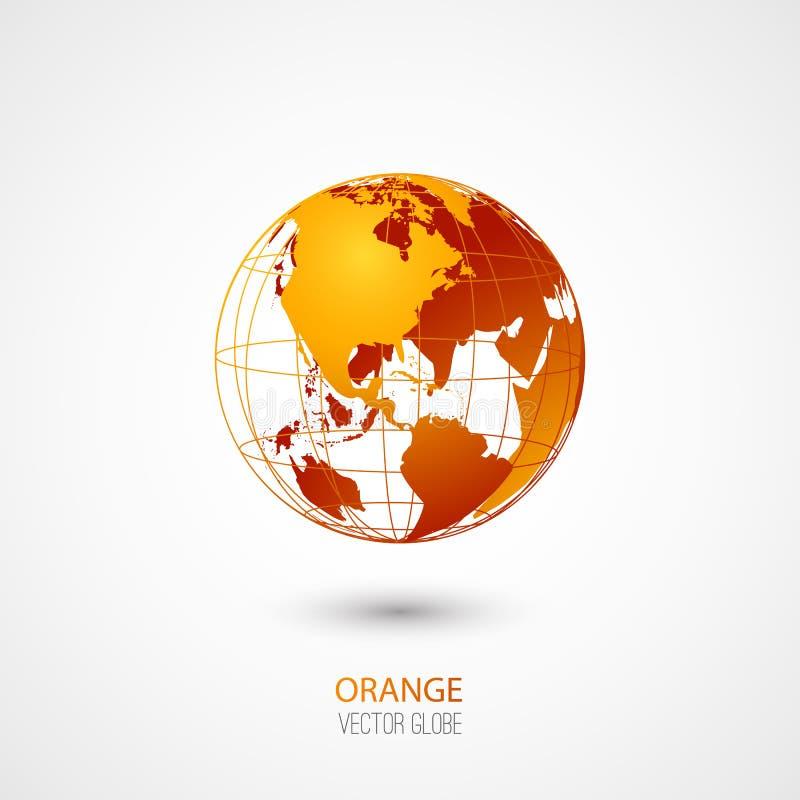 Pomarańczowa kula ziemska ilustracja wektor