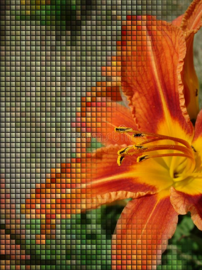 Pomarańczowa leluja z płytką lub hafciarskim skutkiem ilustracja wektor