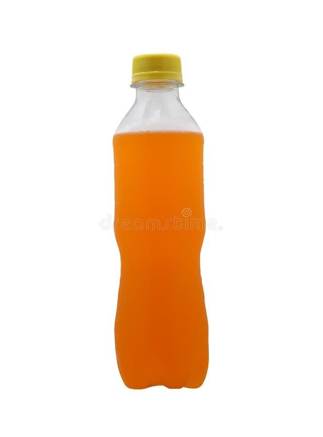 Pomarańczowa Miękkiego napoju butelka odizolowywająca na białym tle obraz royalty free