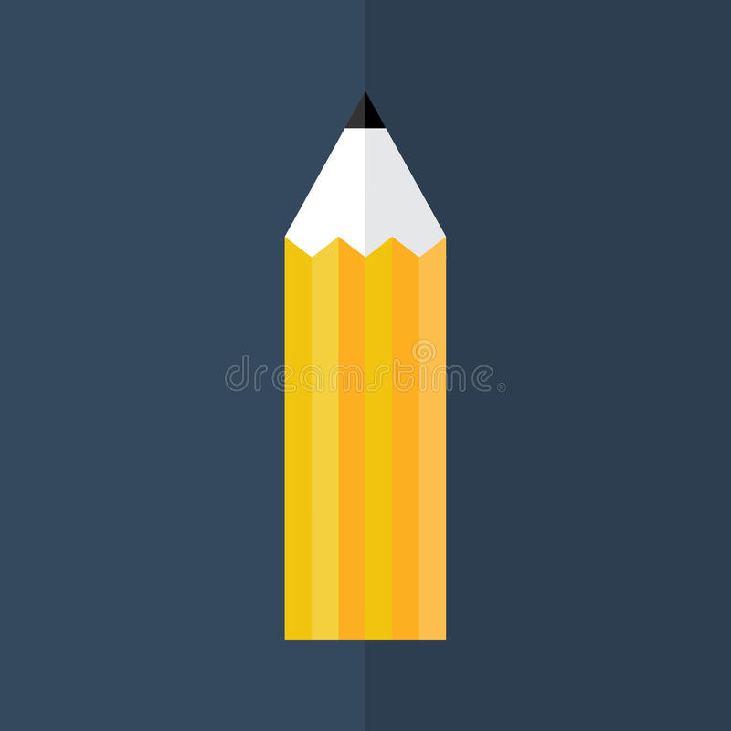 Pomarańczowa ołówkowa ikona nad błękitem ilustracji