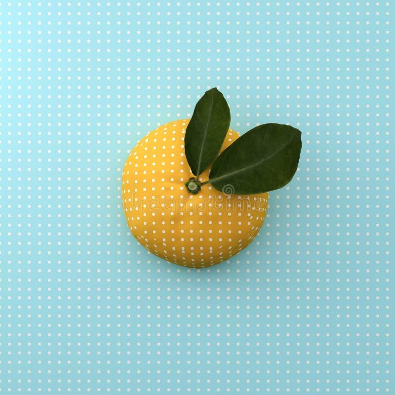 Pomarańczowa owocowa kropka na punktu wzoru błękita tle minimalny pomysł zdjęcie stock