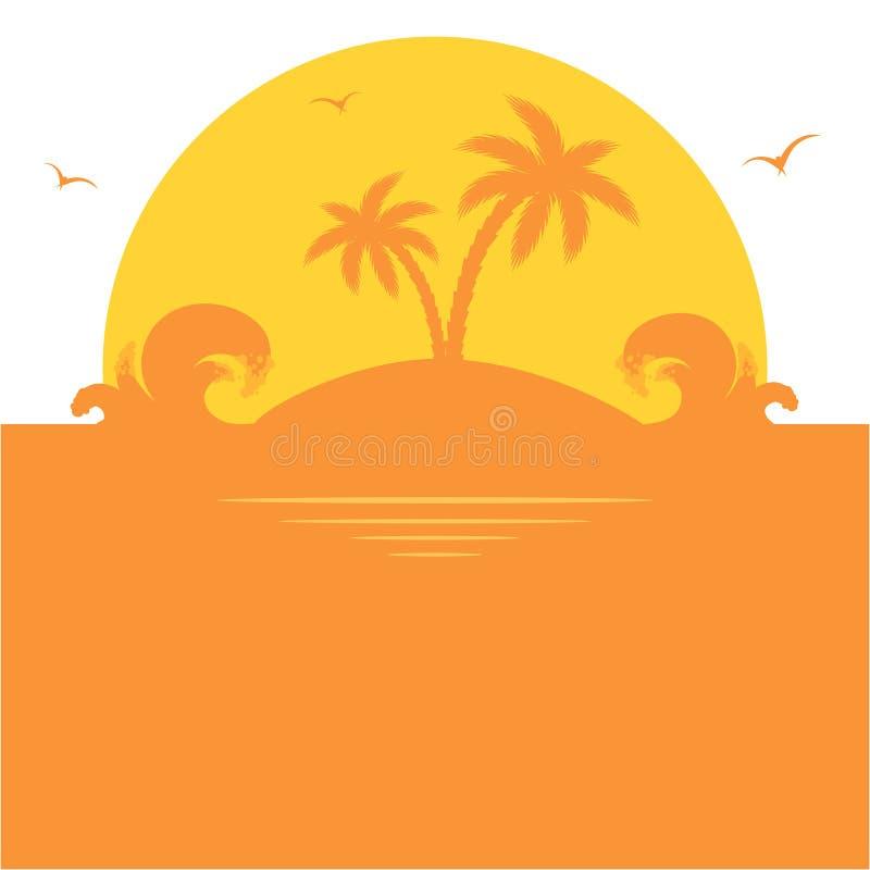 Pomarańczowa palmowa wyspa ilustracja wektor