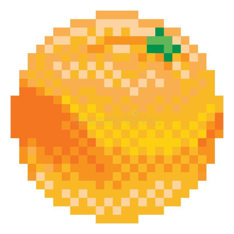 Pomarańczowa piksel sztuki 8 kawałka gra wideo owoc ikona ilustracja wektor