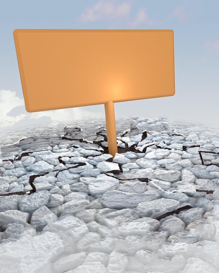 Pomarańczowa reklamy deska wtykająca w skalistej ziemi ilustracji