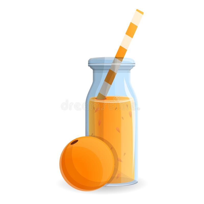 Pomarańczowa smoothie butelki ikona, kreskówka styl ilustracji