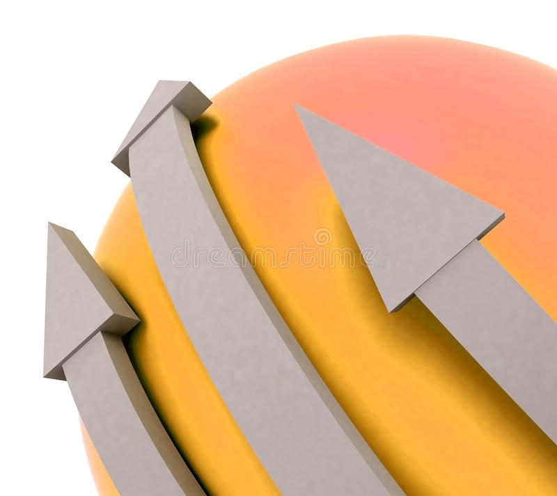 Pomarańczowa strzała Sfera Pokazywać Kierunek ilustracja wektor