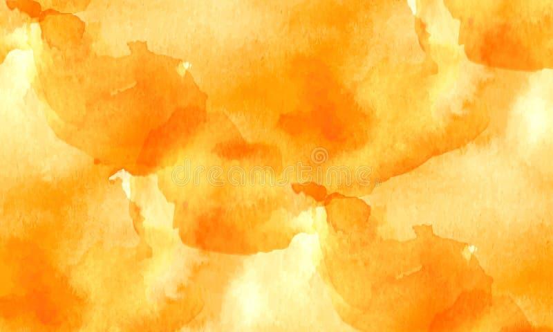 Pomarańczowa tekstura z białymi imitacjami akwarela ilustracja wektor