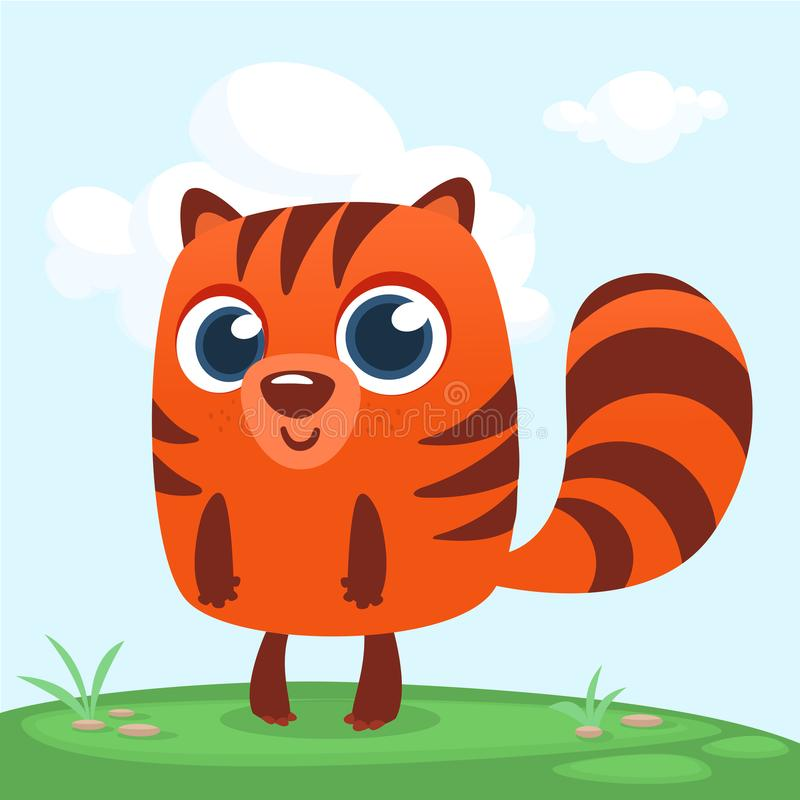 Pomarańczowa wiewiórcza chipmunk kreskówka Lasowa zwierzęca wektorowa ilustracja chipmunk pozycja na lasowym tle ilustracja wektor