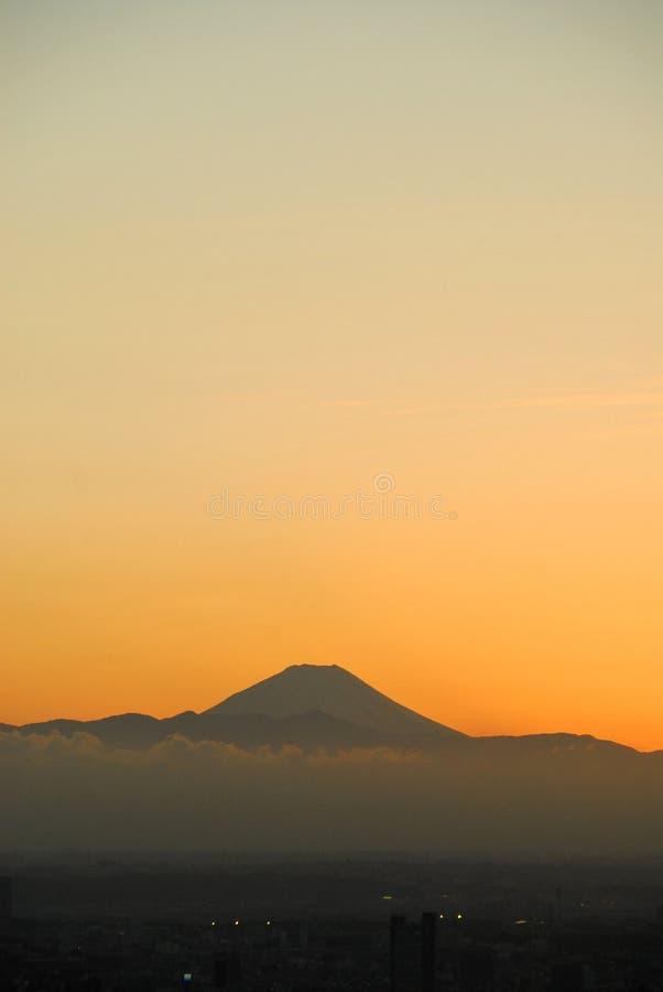 Pomarańczowa zmierzch góra Fuji zdjęcia stock