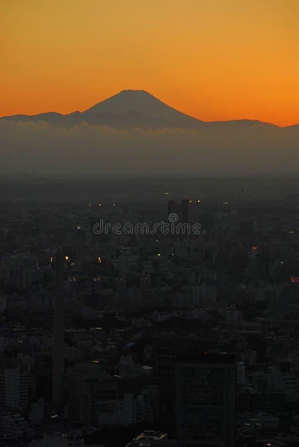 Pomarańczowa zmierzch góra Fuji zdjęcia royalty free