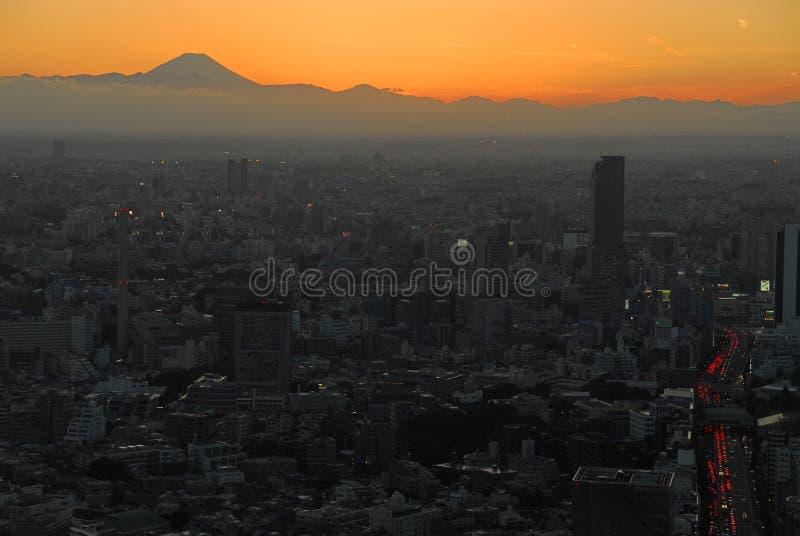 Pomarańczowa zmierzch góra Fuji obraz stock