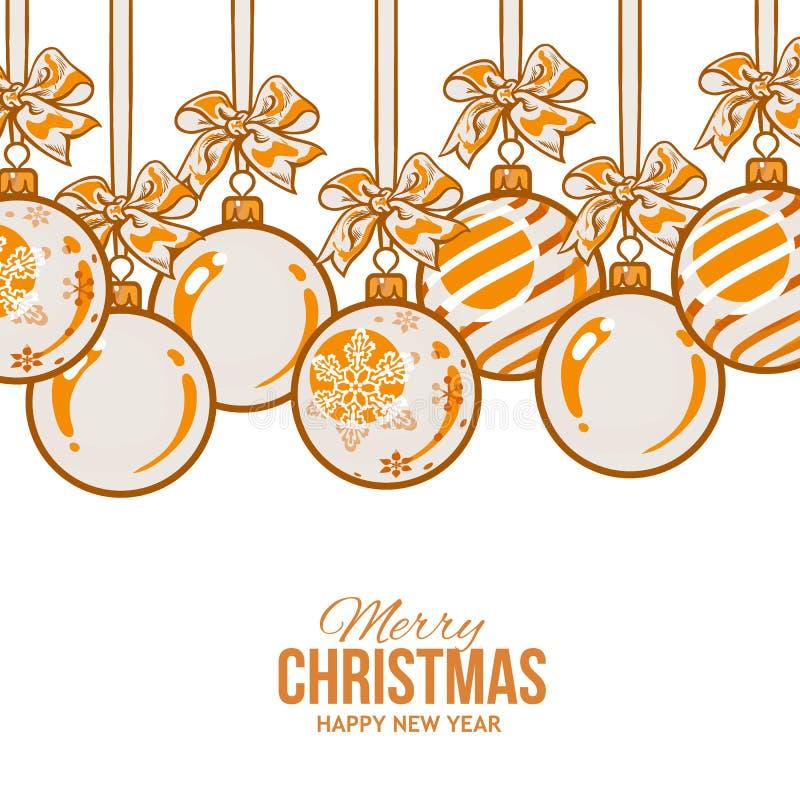 Pomarańczowe Bożenarodzeniowe piłki z faborkiem i łękami, kartka z pozdrowieniami szablon royalty ilustracja