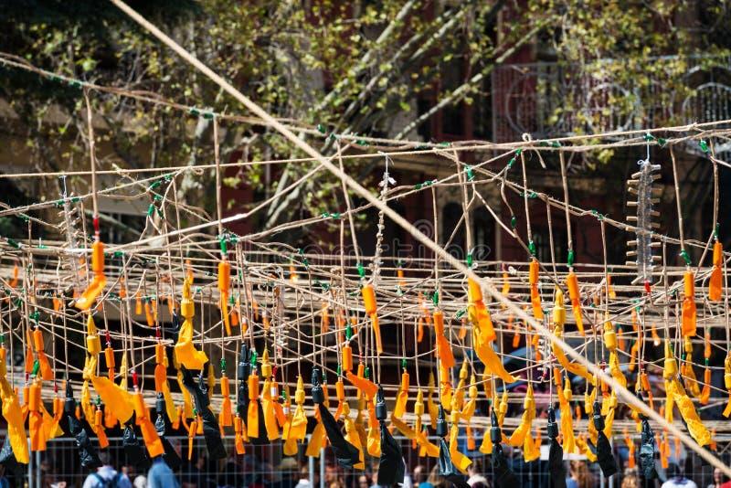 Pomarańczowe petardy podczas Fallas w Walencja zdjęcia royalty free