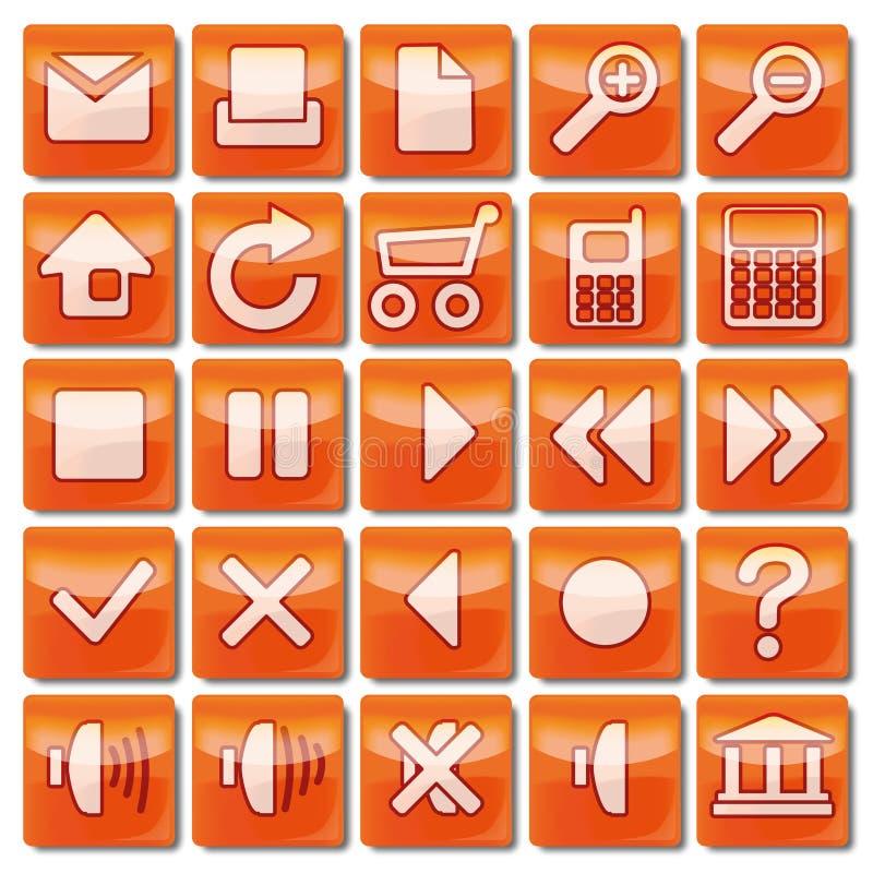 Pomarańczowe sieci ikony 1-25 ilustracja wektor