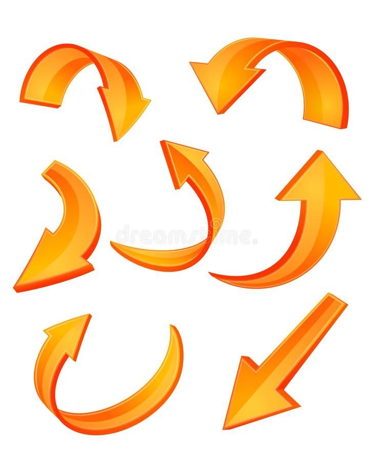 pomarańczowe strzałkowate glansowane ikony ilustracja wektor