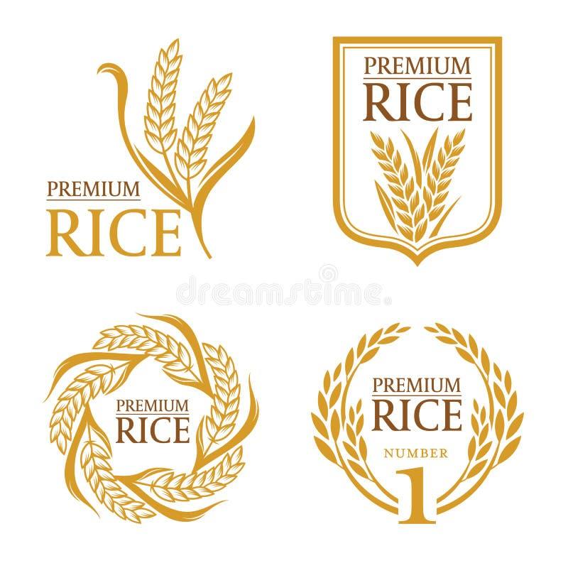 Pomarańczowego brown irlandczyków ryż premii naturalnego produktu sztandaru organicznie loga wektorowy projekt ilustracja wektor