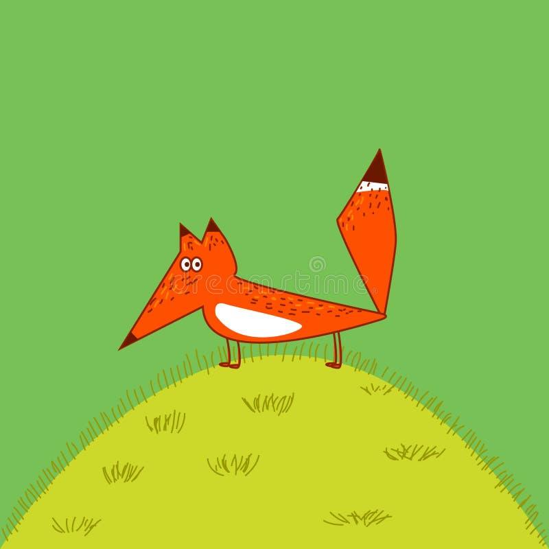 Pomarańczowego Fox dużego ogonu kreskówki śliczny śmieszny styl stać na trawie royalty ilustracja