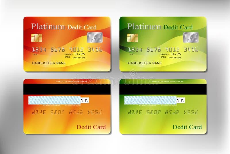 Pomarańczowego i zielonego koloru realistyczny kredyt karta debetowa lub zdjęcie royalty free