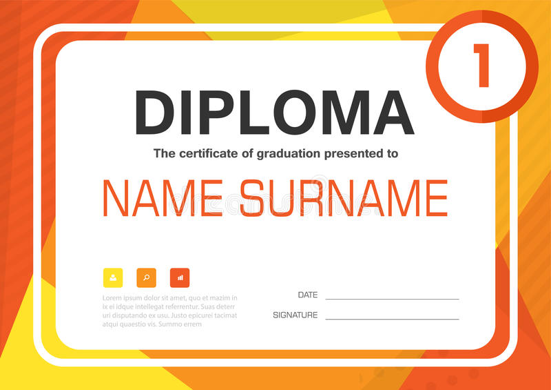 Pomarańczowego koloru żółtego A4 dyplomu świadectwa tła szablonu układu projekt ilustracja wektor