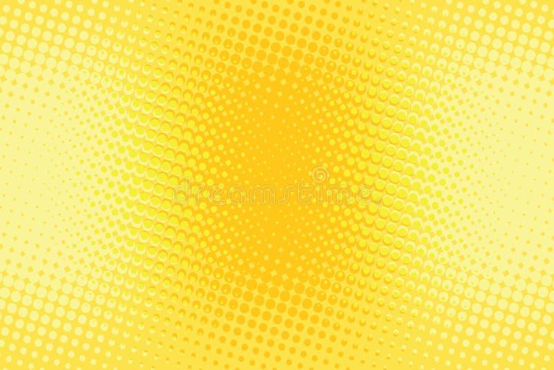 Pomarańczowego koloru żółtego halftone wystrzału sztuki retro tło ilustracji