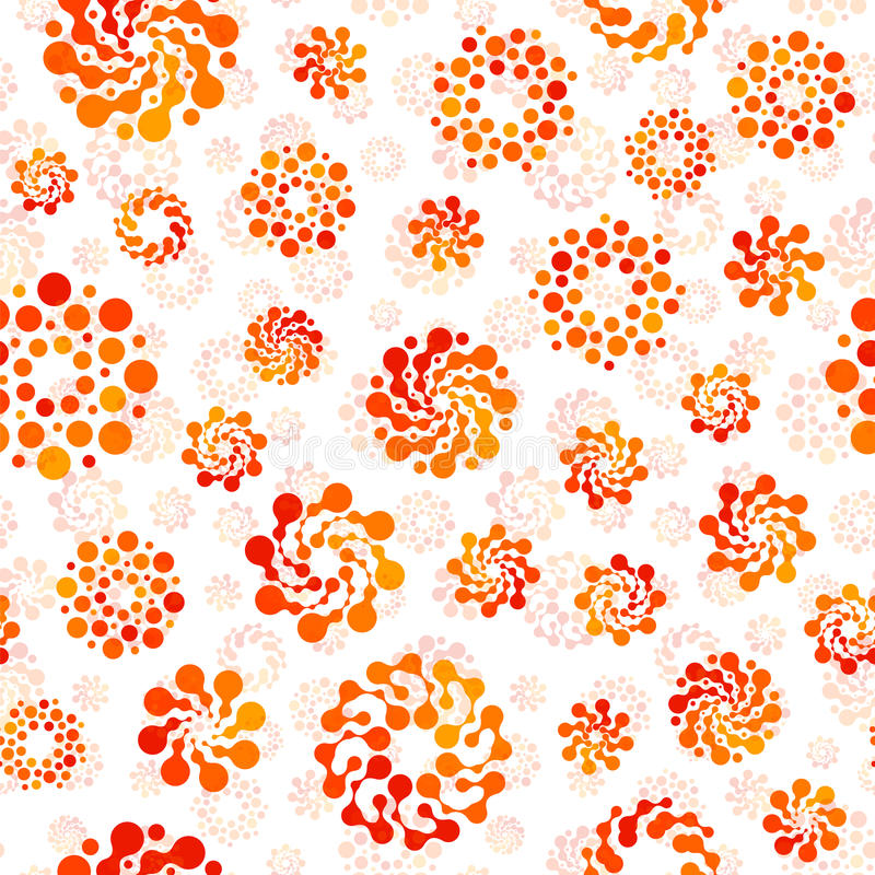 Pomarańczowego koloru okregów projekta abstrakcjonistyczny bezszwowy wzór niezwykły Wektorów round kształtów odosobniony powtarza ilustracji