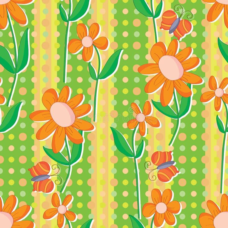 Pomarańczowego Pionowo tkanina kwiatu Bezszwowy wzór royalty ilustracja
