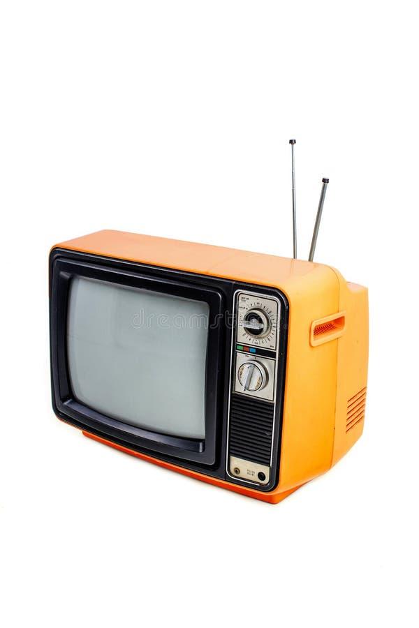 Pomarańczowego rocznika stylu stara telewizja zdjęcia royalty free