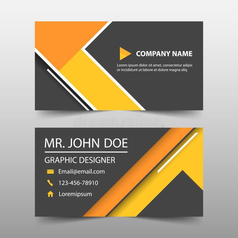 Pomarańczowego trójboka korporacyjna wizytówka, imię karty szablon, horyzontalny prosty czysty układu projekta szablon, royalty ilustracja