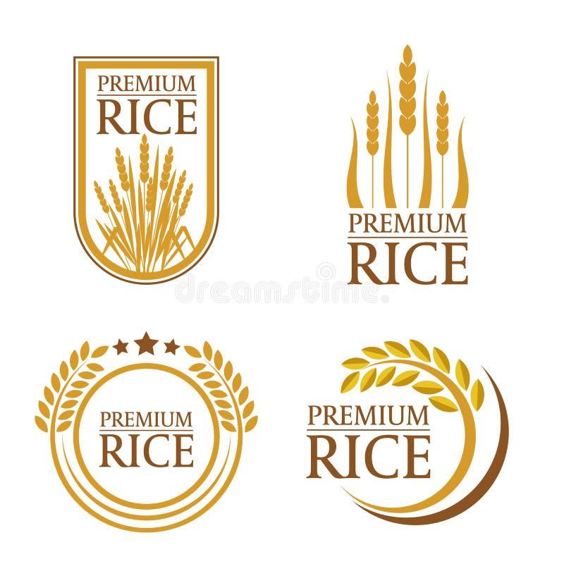 Pomarańczowej brown irlandczyk premii naturalnego produktu loga i sztandaru sztuki ryżowy wektorowy projekt royalty ilustracja