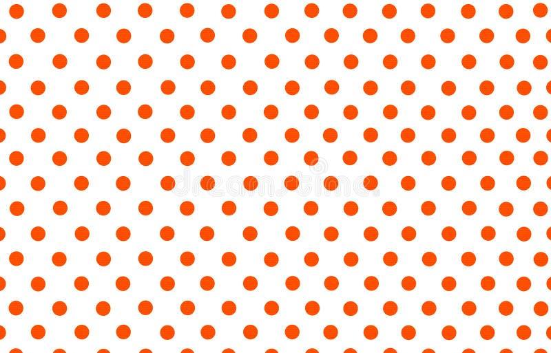Pomarańczowej czerwieni polki kropka z białym tłem ilustracji