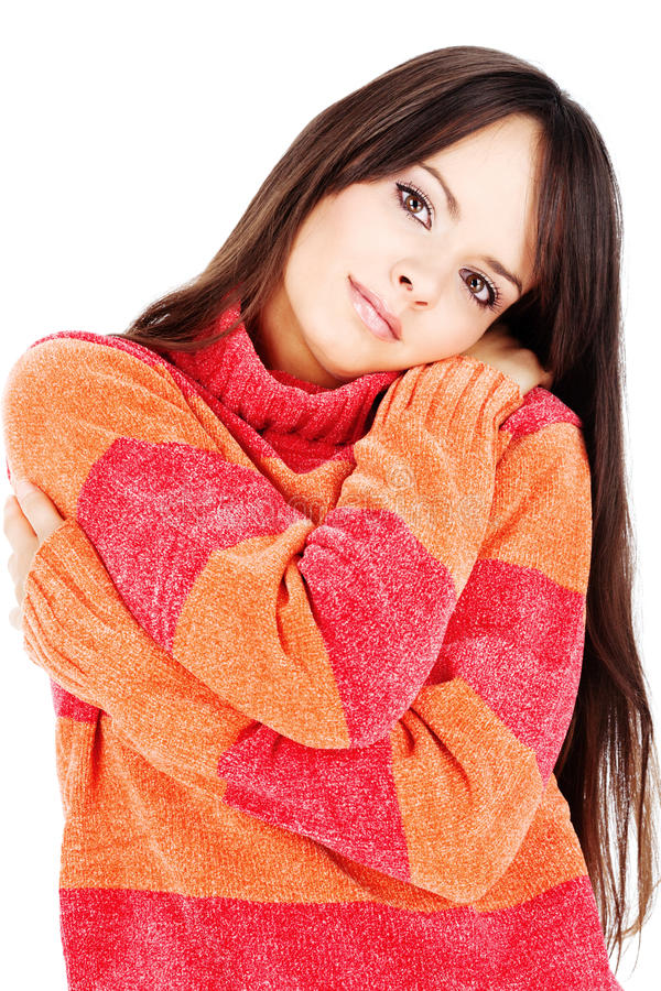 pomarańczowej czerwieni puloweru kobiety wełna fotografia royalty free