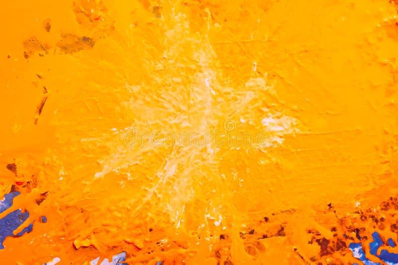 Pomarańczowej farby kropli kreatywnie abstrakcjonistyczny tło obraz stock